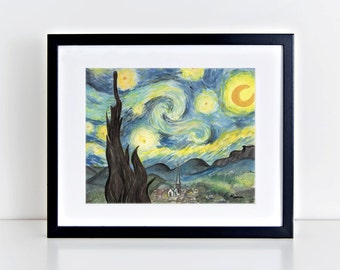 Van Gogh's Starry Night Watercolor Painting Art Print || art print, vincent van gogh, wall decor, post-impressionist, watercolor painting