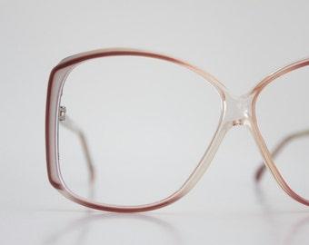 Vintage French Oversized Pale Plum Eyeglasses Frames