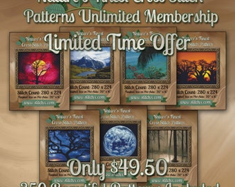Cross Stitch Patterns - Access to all 350 of our Nature's Finest Cross Stitch Designs - Set of 7 CDs Mailed to You.  Limited Time Great Deal