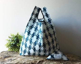 Tote bag handmade in cotton with petrol blue geometric texture / reusable grocery bag capacious and foldable / lunch bag / doggy bag
