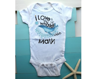Whale Onesie, Ocean Baby Onesie, Baby Onesie Funny, Baby Outfits, Baby Shower Gift, Baby Boy Onesie
