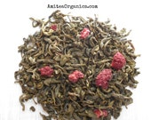 RASPBERRY GreenTea, Organic Loose Leaf , Fruity, Berry Tea, Iced Tea, Healthy, Caffeinated, 1oz Earth Friendly Packaging