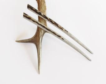 Hair sticks, Hair chopsticks, Deer antler, Hair pins, Haarschmuck, Antler Hair accessory, Natural Hair Accessories, Handmade by MariyaArts