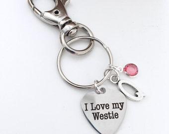Personalized I Love My Westie Keychain
