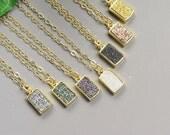 Gold Druzy Necklace - Dainty Gold Necklace - Dainty Druzy Necklace - Your Choice of Druzy Color - Bezel Druzy Peandant