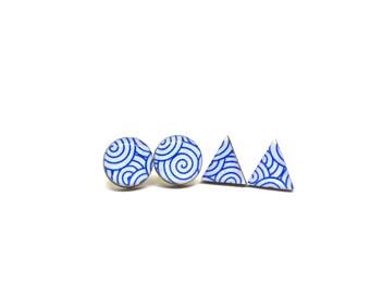 Blue Swirl Stud Earrings, Spirals, Triangle or Round, Washi Tape earrings, Cobalt, Resin, Decoupage, Laser cut Wood, Lightweight, You chose