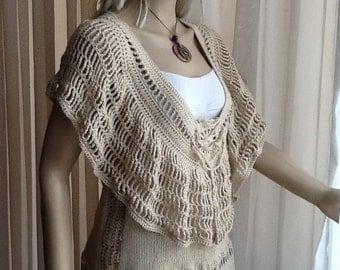 Cleopatra - Custom Order - CROCHET SWEATER / Hand Knit Sweater / Sleeveless / Deep Neckline / Crochet Top / Spring Summer / Cotton Acrylic