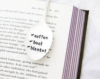 Spoon Bookmark. Coffee, Book, Blanket. Relaxation Checklist. Stamped Spoon Book Mark. Relaxation Gift. Original Milk & Honey ® Design.
