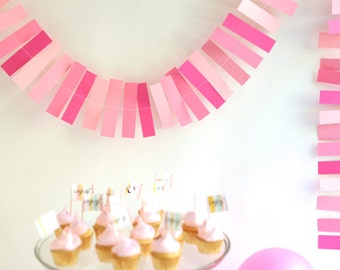 pink ombre paper garland - 8 feet - baby girl shower baby girl birthday party decorations bunting