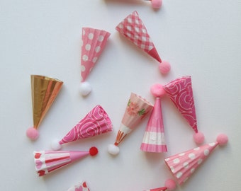 pinks mini party hat cupcake toppers for girl birthday baby girl shower party