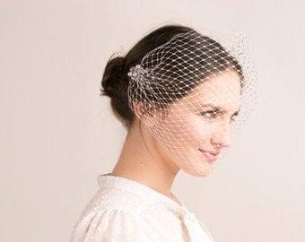 Silver pearl bandeau veil, metallic silver wedding bandeau