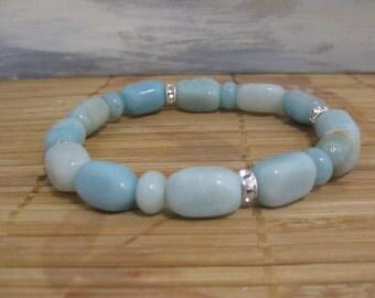 Peruvian blue opal gemstone bracelet with swarovski rondelle elements and Peruvian blue opal rondelles