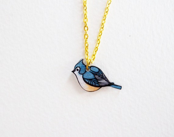 Tufted Titmouse Necklace | Song Bird | Shrink Plastic Art | Gifts Under 25
