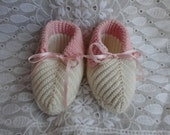 Vintage Crochet Booties Cream and Pink Baby Girl Shoes With Ribbon Ties