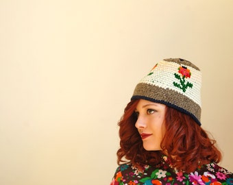 Vintage floral knit stocking hat, wool winter crochet cap 1970s