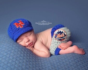 Newborn Baby New York Mets Outfit Uniform Set, Hat, Cap, Pants, Knitted Crochet, Baby Gift, Photo Prop, Baseball, MLB