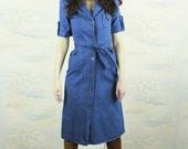Denim dress,1970s XS,mid length dress,Button down dress,A line,70s dress,shirt dress,