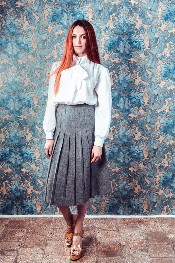 Pleated skirt Wool skirtVintage Midi skirt Mid length