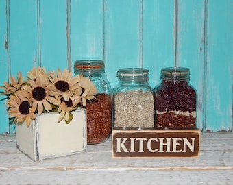 Kitchen Sign Wood Block Sign Country Home Decor Shelf Sitter  Ready To Ship