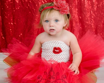 Valentine's Day Red Lips Tutu Dress - Girls Size Newborn 3 6 9 12 18 Months 2T 3T 4T 5 6 7 8 Birthday Party Outfit - Kiss Halloween Costume