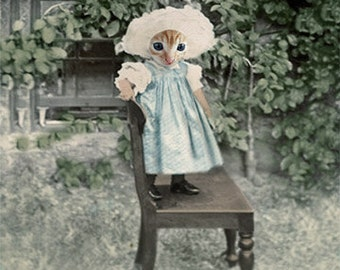 Mary Jane, Vintage Cat Print, Anthropomorphic, Altered Photo, Photo Collage Art, Whimsical Art, Quirky Art, Funny Art, Unique Animal Art