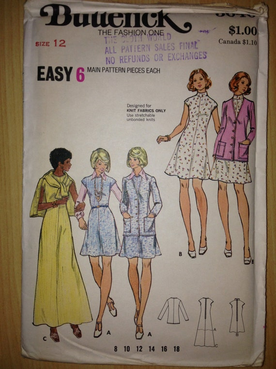 Vintage 70s Butterick 3040 Sewing Pattern Misses Dress and Cardigan Size 12