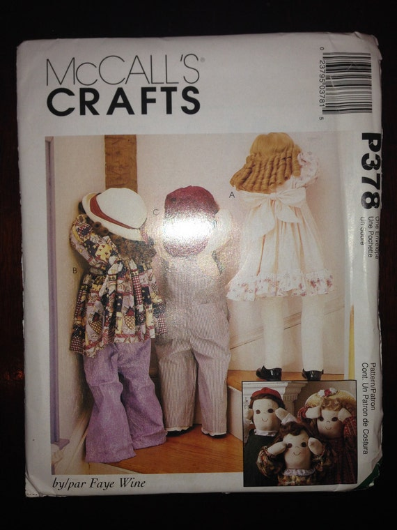 McCall's Crafts Sewing Pattern 378 36 Inch Dolls with Clothing 90s