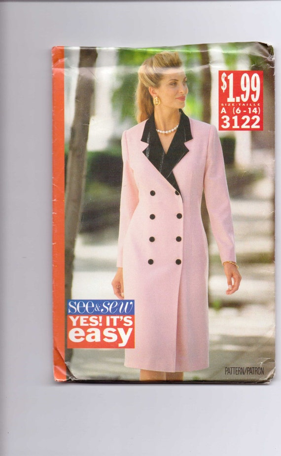 Butterick 3122 Sewing Pattern 90s UNCUT Misses Dress See and Sew Size 6-14