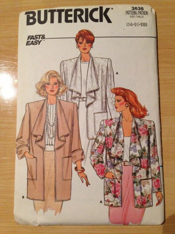 Butterick 3636 Sewing Pattern 80s UNCUT Misses Jacket Size 14-18