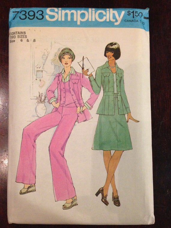 Simplicity 7393 Sewing Pattern 70s Misses Unlined Jacket, Vest, Pants and Skirt Size 6-8