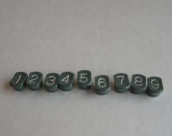 Vintage Dark Green Number Keys 1 to 9 for Repurposing