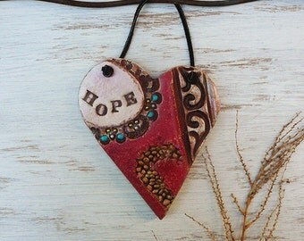 Hope Heart Wall Hanging, Bohemian Distressed Wall Heart, Handmade Fade Pottery Hope Heart Sign Plaque Wall Decor Friend's Gift Ready to Ship