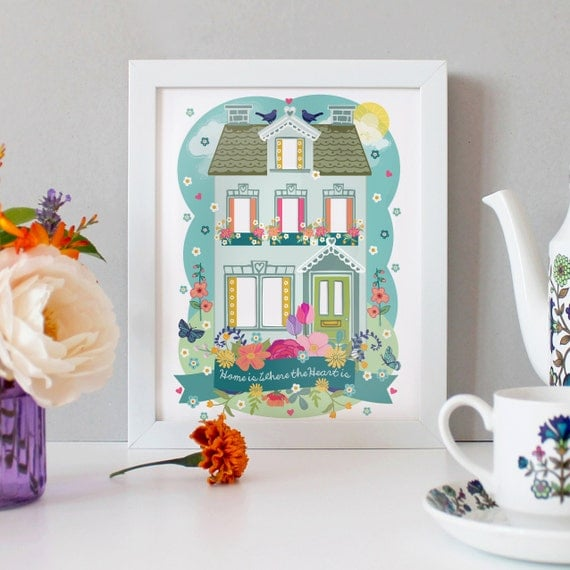 PERSONALISED - Home is Where The Heart Is - Home is Where Mum Is - A4 Unframed Illustration Print With Handcut Photo Apertures