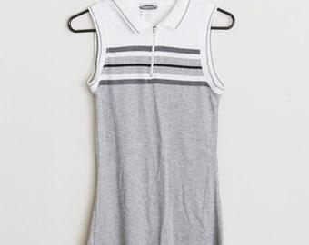 90s Sporty Black White Grey Polo Dress Sleeveless