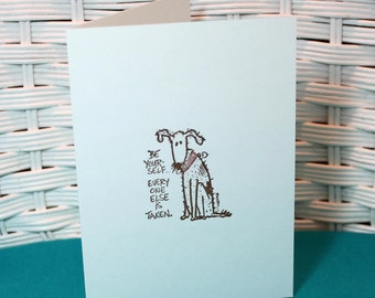 Set of 6 Hand Stamped Be Yourself Dog Note Cards