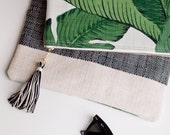 Green Foldover Clutch Purse iPad Sleeve / Martinique Beverly Hills Tropical Banana Leaf