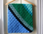 Vintage crocheted baby afghan / handmade baby blanket in green, teal, blue, & black / Receiving Blanket