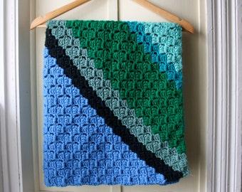 Vintage crocheted baby afghan / handmade baby blanket in green, teal, blue, & black / Receiving Blanket
