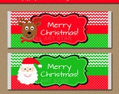 EDITABLE Christmas Chocolate Bar Wrappers - Printable Holiday Candy Bar Wrappers - Santa Party Favors - Reindeer Stocking Stuffer C4