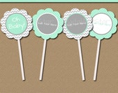 Printable Mint Green & Grey Baby Shower Cupcake Toppers - EDITABLE Cupcake Decorations Instant Download Mint Gray Chevron Cupcake Picks
