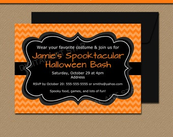 Orange and Black Halloween Invitation, Downloadable Halloween Party Invitation, Chevron, Halloween Birthday Invite, Halloween Decor