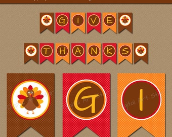 Printable Thanksgiving Banner - EDITABLE Thanksgiving Banner - DIY Turkey Banner - Printable Thanksgiving Decor - Party Decorations T1