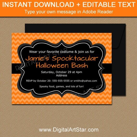 Orange and Black Halloween Invitation Downloadable Halloween
