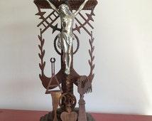 SALE Tramp Art Crucifix