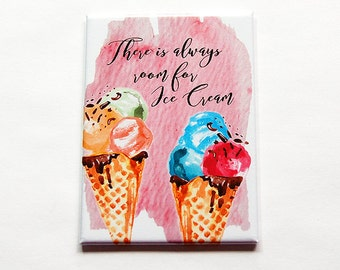 Ice Cream Magnet, Fridge magnet, Summer Magnet, ACEO, Kitchen magnet, Ice Cream Cone, There's always room for ice cream, pink (5987)