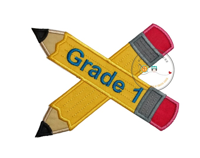 Large 1st grade pencils- back to school - Iron embroidered fabric applique patch embellishment-ready to ship