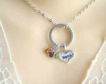 Birthstone Necklace Push Present Gift for New MOM Grandmom Gift Swarovski Birthstone Charm Necklace Mothers Gift for Her ADD Photo charm