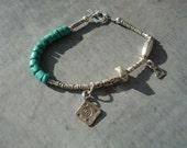 Turquoise Bracelet, Turquoise Charm Bracelet, Turquoise Heart Bracelet