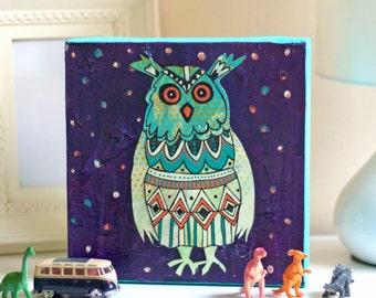 Original acrylic and mixed media painting 'Night Owl' by Suzielou, wall canvas, nursery art, gift for child, birthday gift, kids art