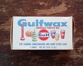 Vintage Gulfwax Paraffin Wax - Cardboard Box Advertising Display - Gulf Oil Corp. - Holiday Graphics - Candle/Canning Wax - Canning Supplies